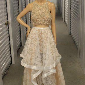 Terani Couture 2pc Rhinstone and Ruffle Set